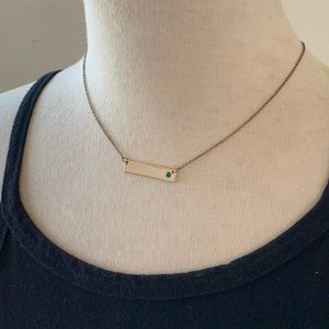 Gold Emerald Gem Bar Necklace